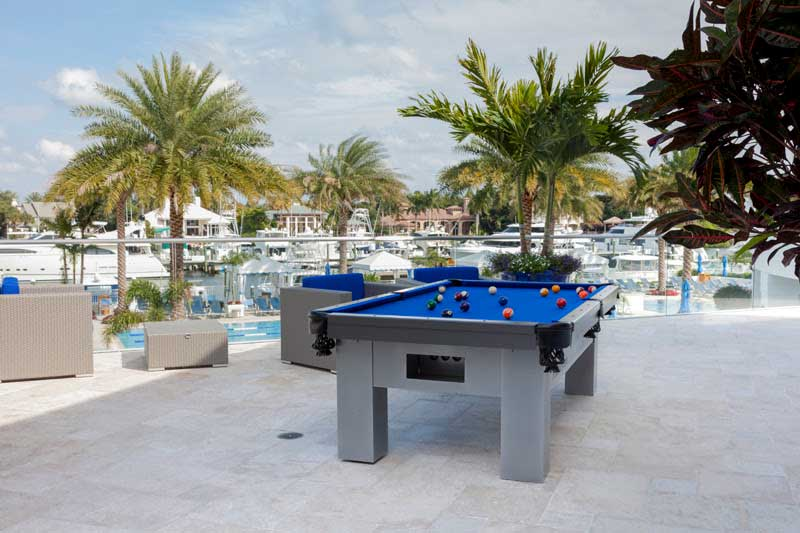 Orion custom outdoor pool table at Admiral's Cove in Florida
