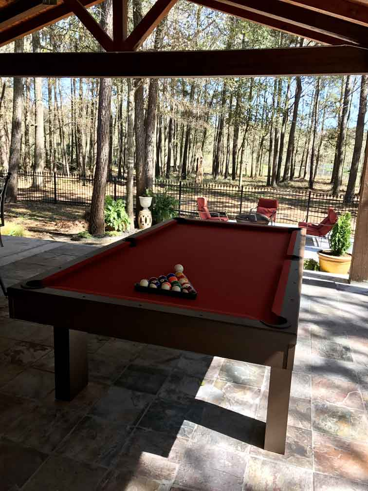 Custom outdoor pool table, South Beach model, in client's outdoor retreat