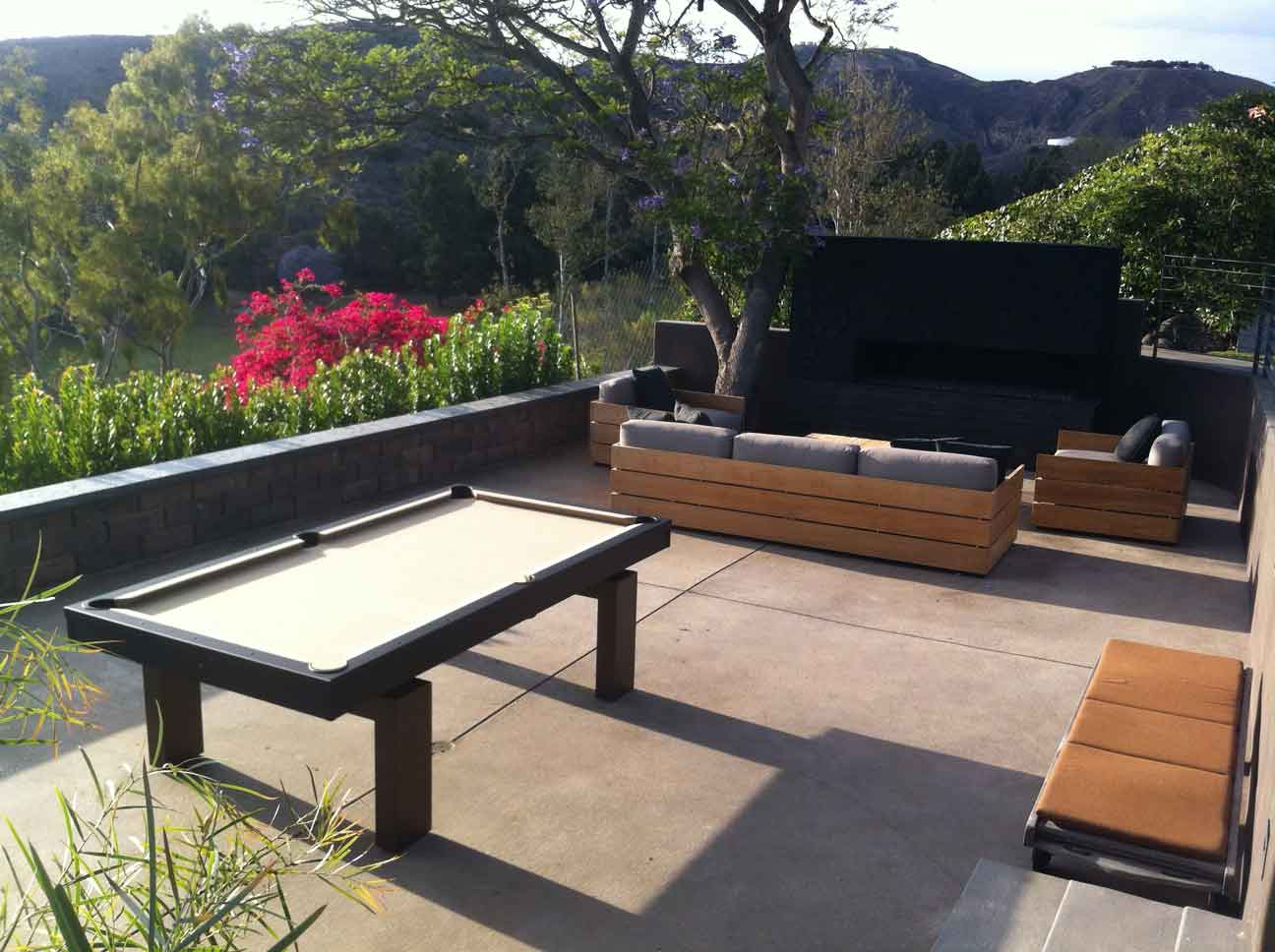 South Beach custom outdoor pool table in client's backyard