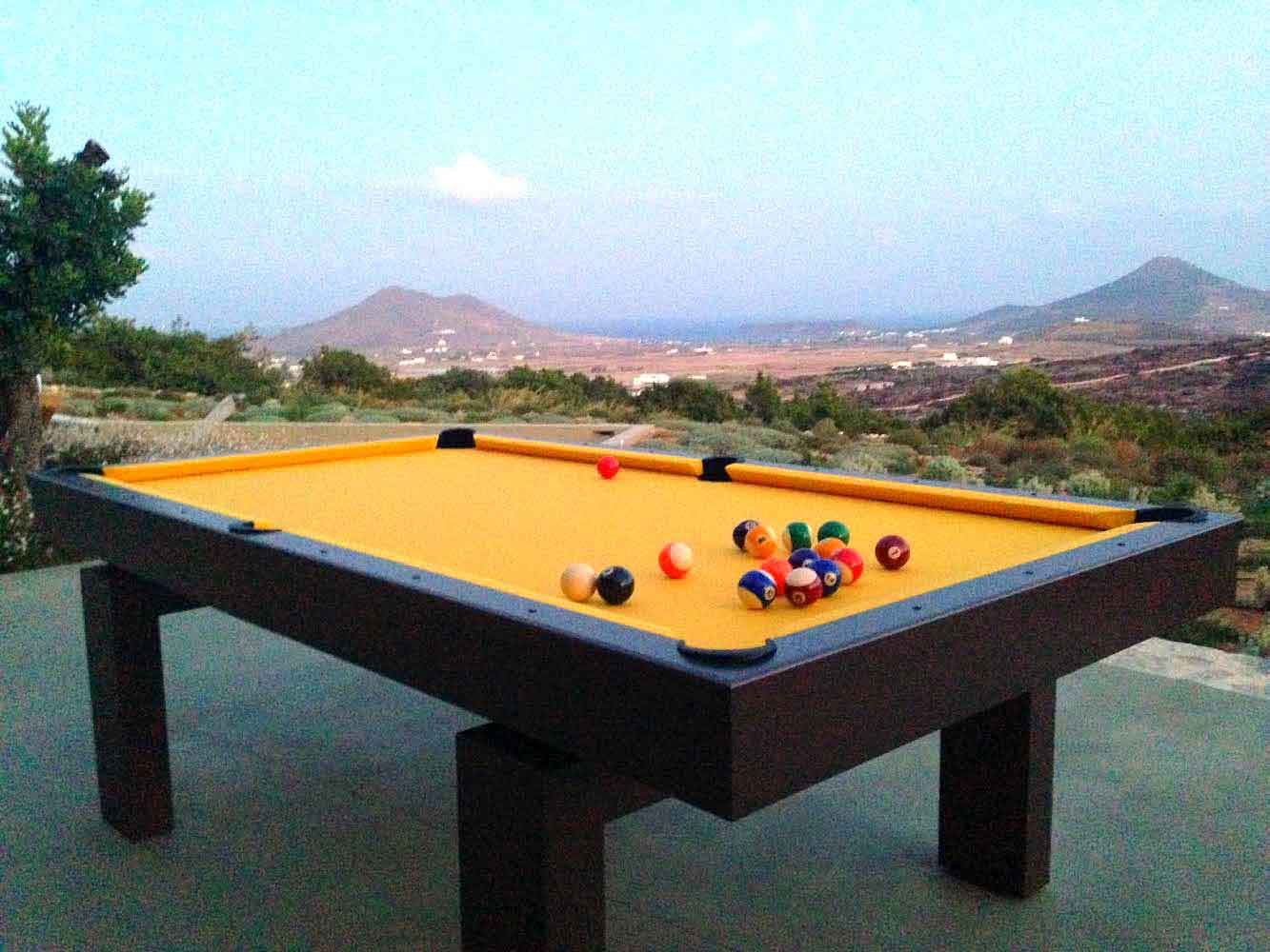A South Beach custom outdoor pool table made by R&R Outdoors All Weather Billiards for a client in Greece