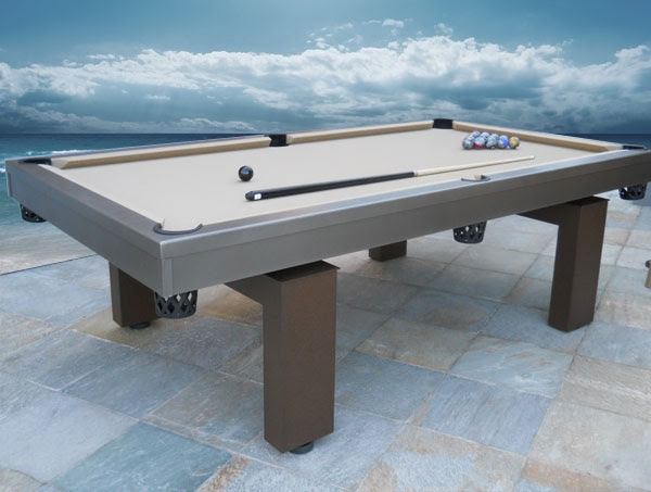 South Beach outdoor pool table with custom balls by R&R Outdoors All Weather Billiards