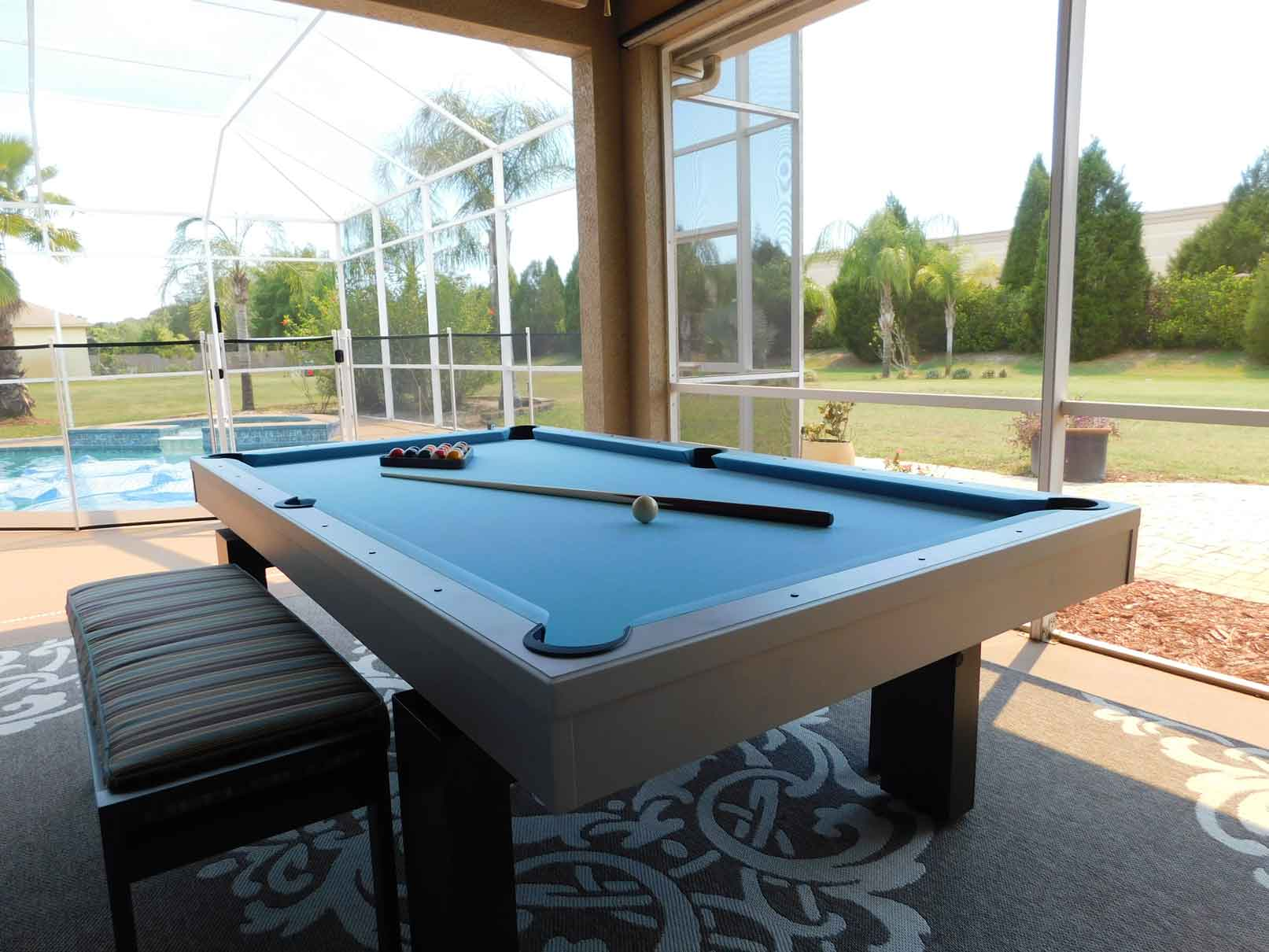 South Beach outdoor pool table with all weather bench by R&R Outdoors All Weather Billiards