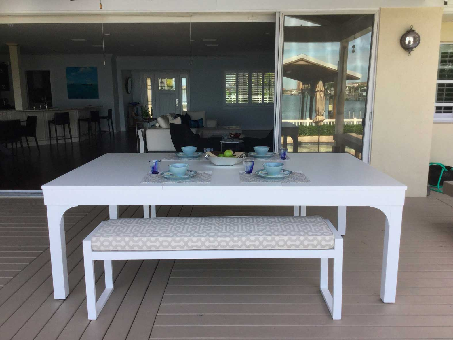 Outdoor pool table converted into dining table with R&R Outdoors dining conversion top