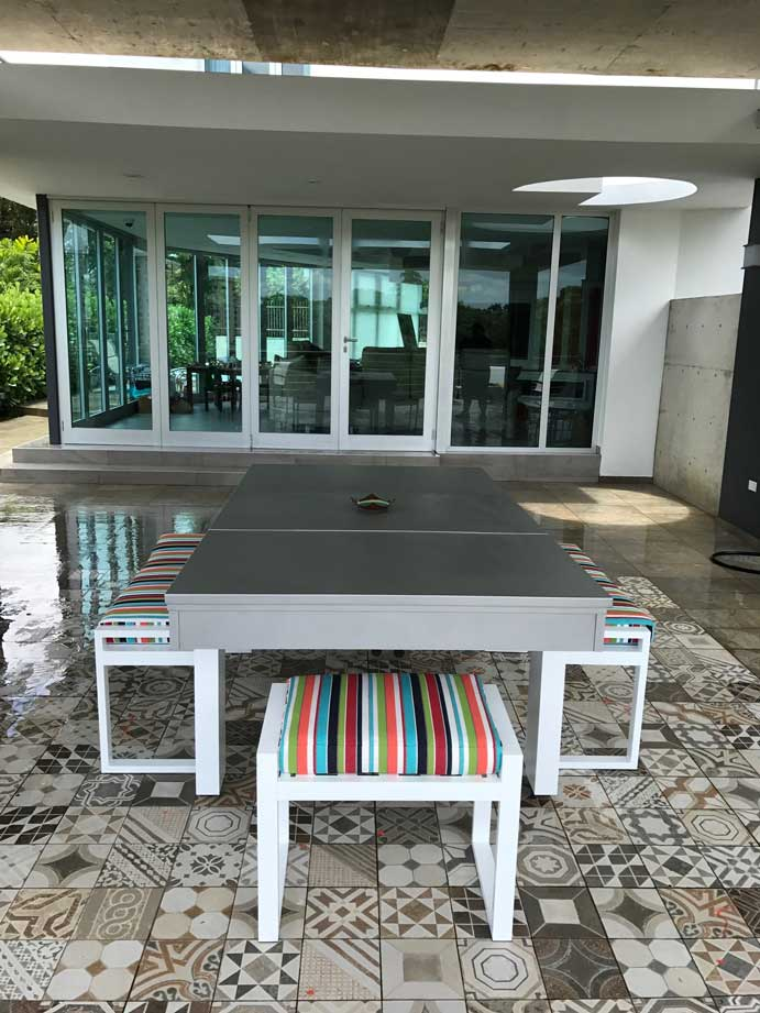 South Beach custom outdoor pool table with hard top dining conversion from R&R Outdoors All Weather Billiards