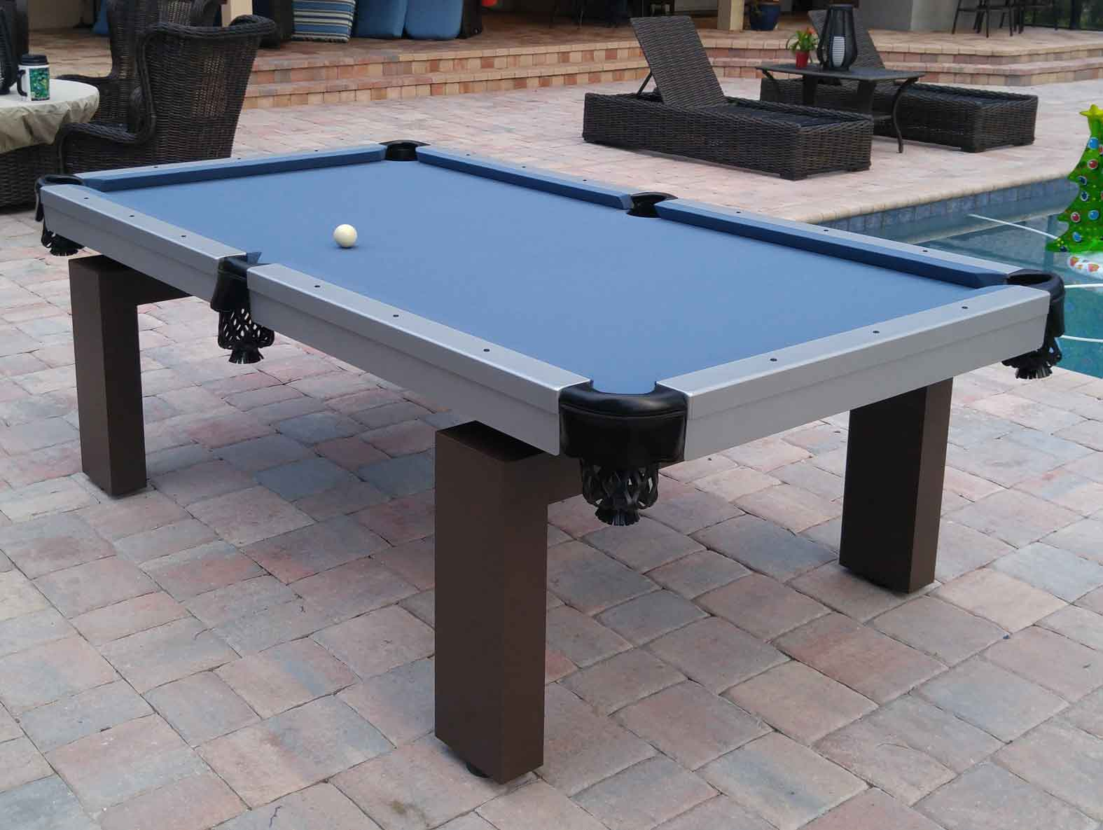 Oasis custom outdoor pool table sitting poolside in Southwest Florida home