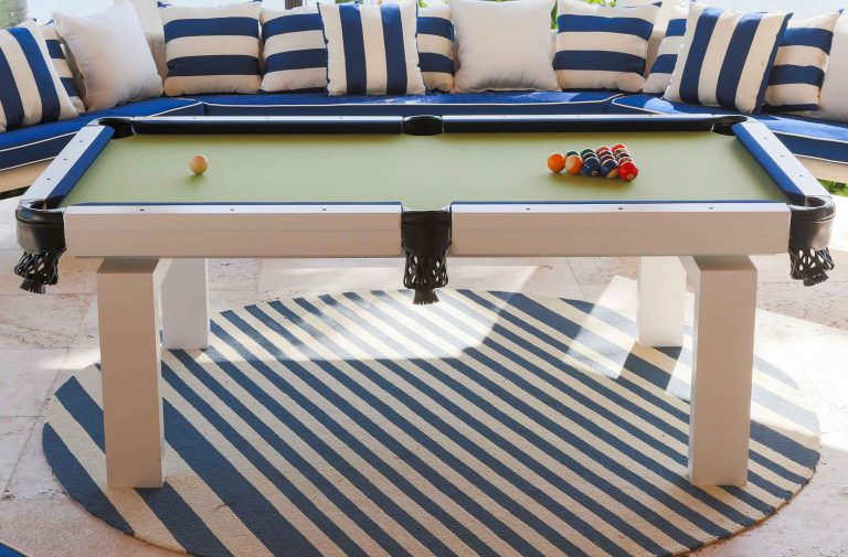 Blue, white and green Oasis custom outdoor pool table by R&R Outdoors All Weather Billiards