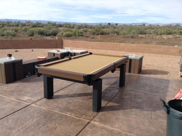Oasis Outdoor Pool Table in Arizona Residential Backyard