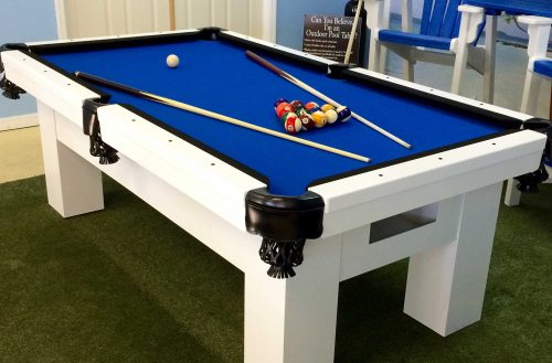 Blue, Black and White Orion custom outdoor pool table in R&R Outdoors All Weather Billiards showroom