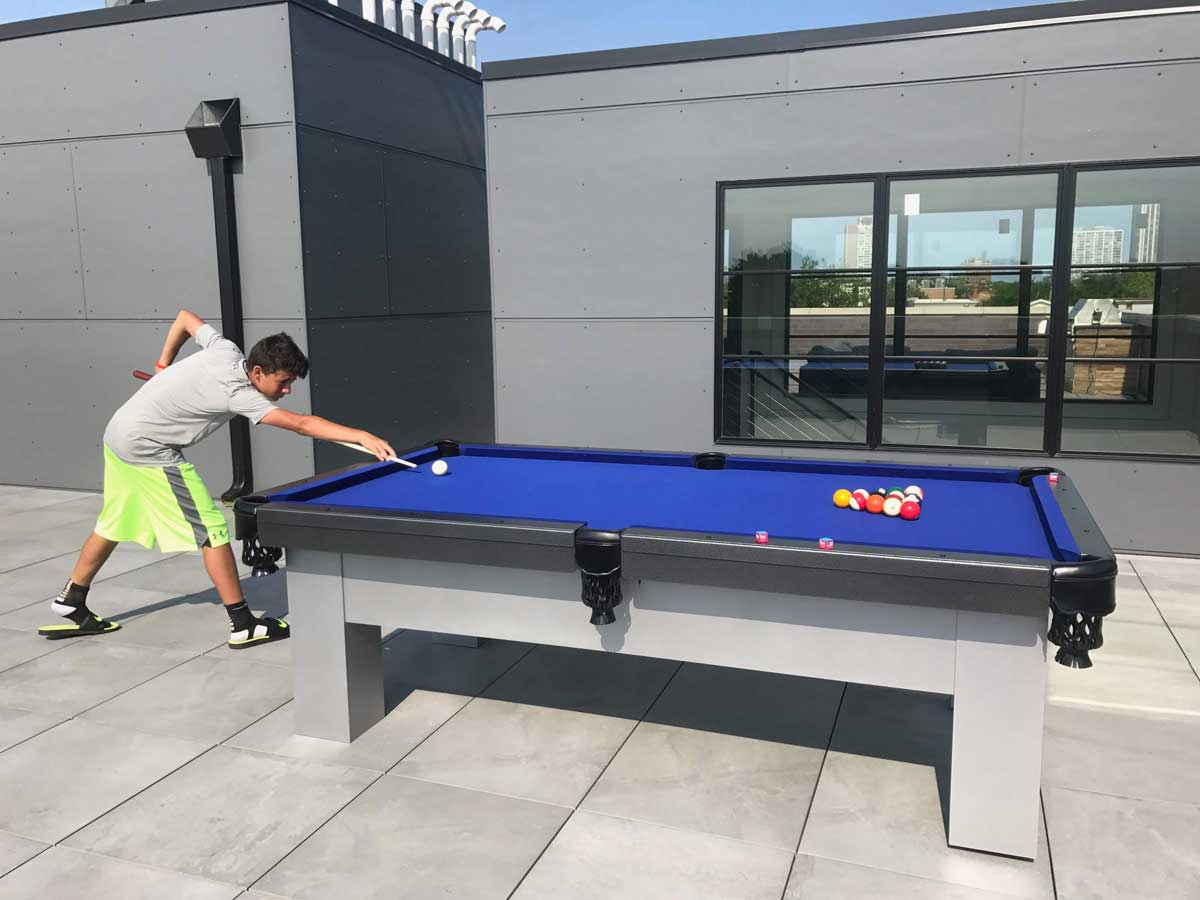 Orion Outdoor Pool Table Game in Progress from R&R Outdoors