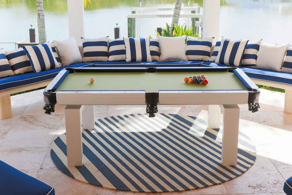 Oasis custom outdoor pool table before soft top dining conversion by R&R Outdoors All Weather Billiards