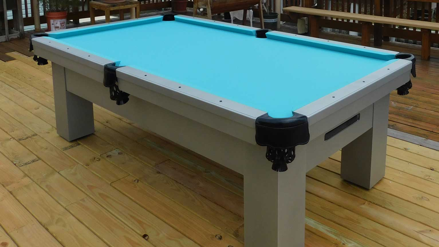 Custom Orion outdoor pool table on client's deck