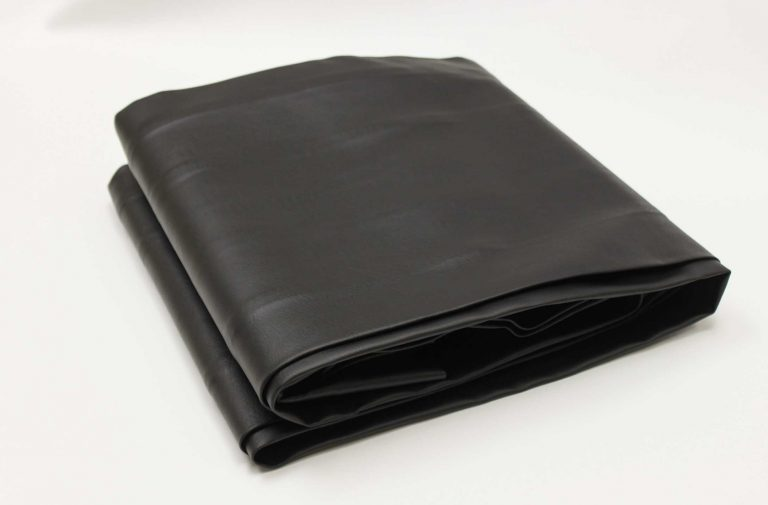 Black, leather-like vinyl custom outdoor pool table cover from R&R Outdoors All Weather Billiards
