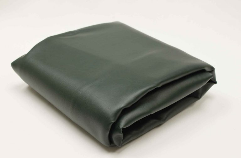 Green, leather-like vinyl custom outdoor pool table cover from R&R Outdoors All Weather Billiards