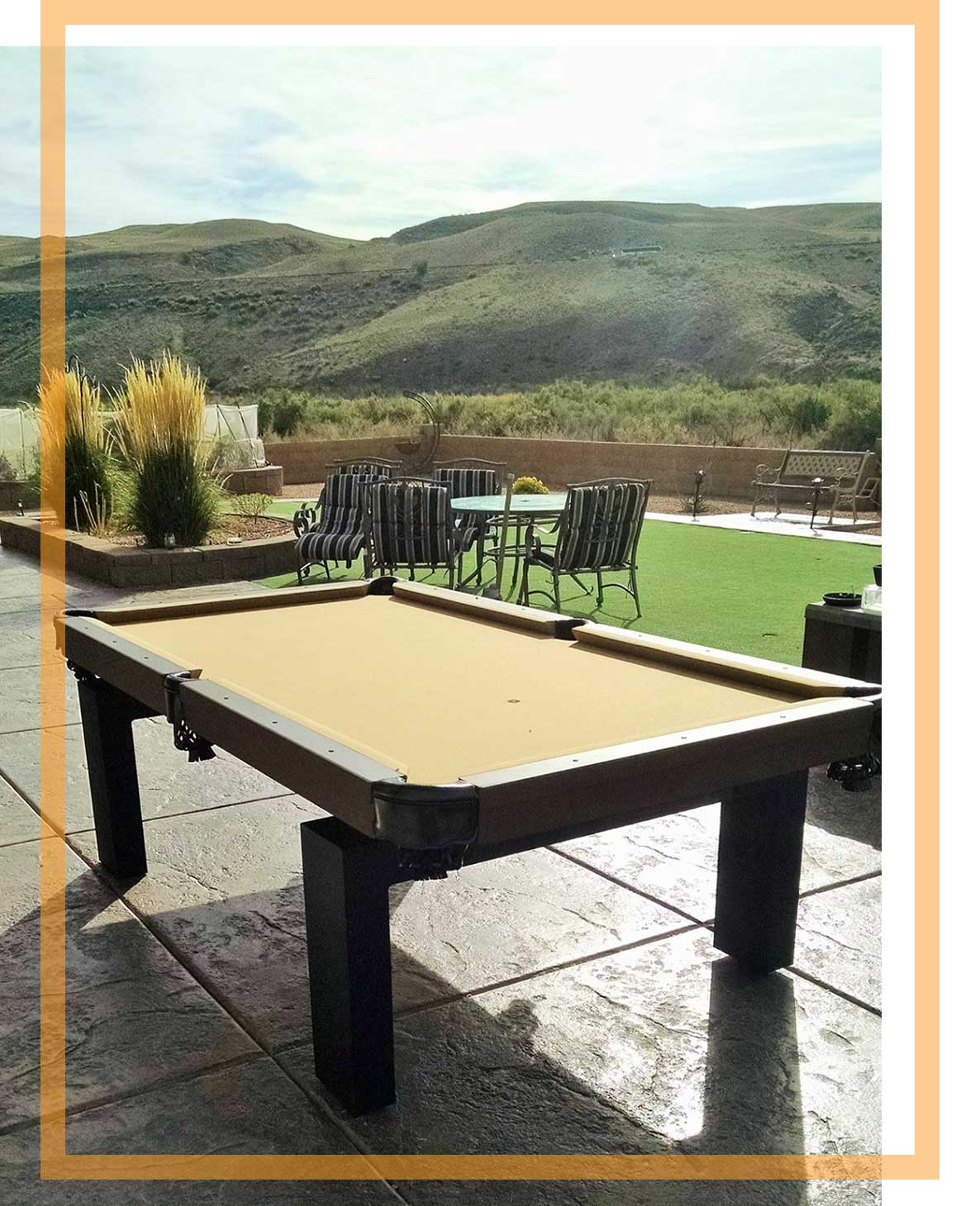 Custom outdoor pool table with Colorado Mountains in distance
