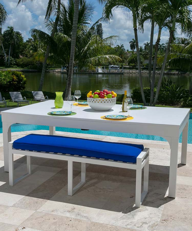 Custom Balcony outdoor pool table with hard dining conversion top and all weather seating bench