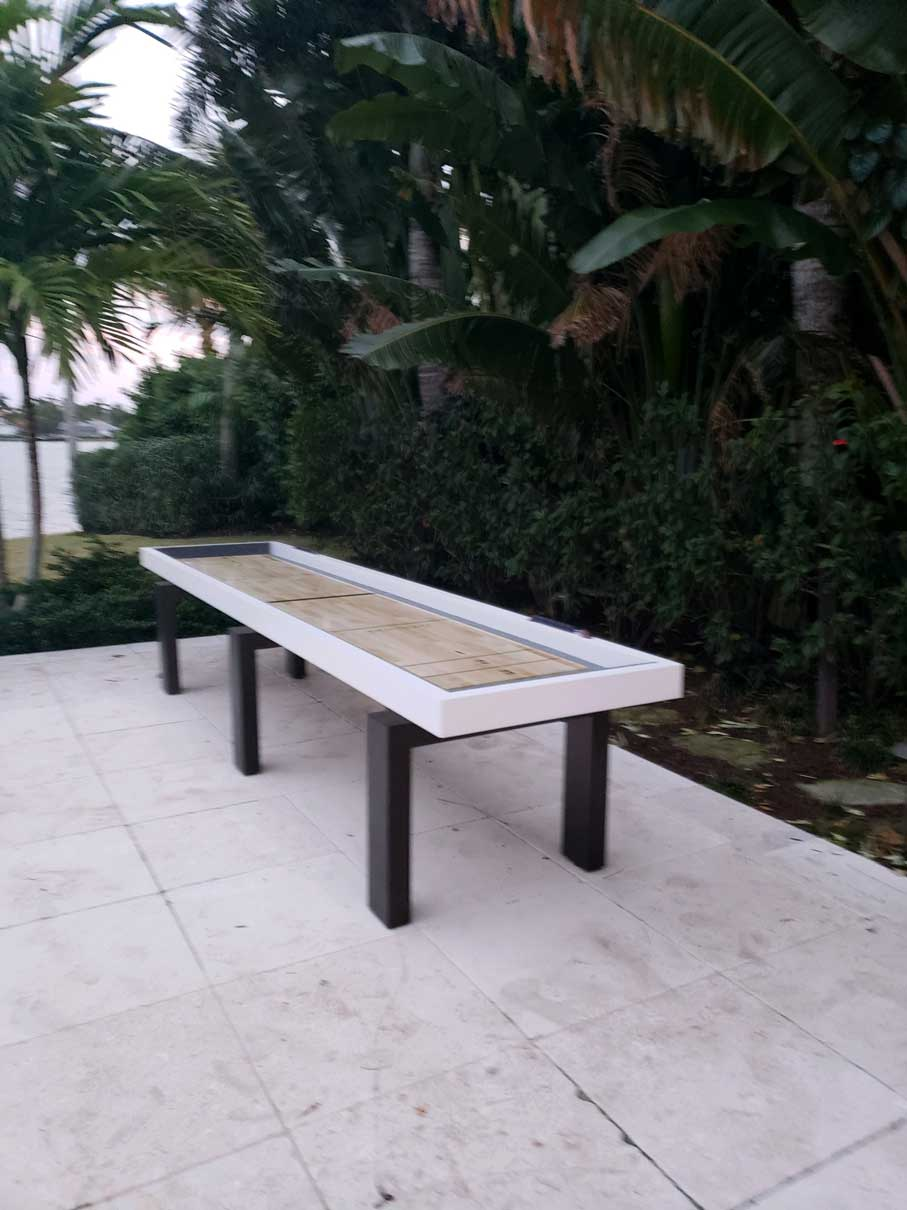 Outdoor Shuffleboard Table Waterfront in Southwest Florida Home by R&R Outdoors, Inc.