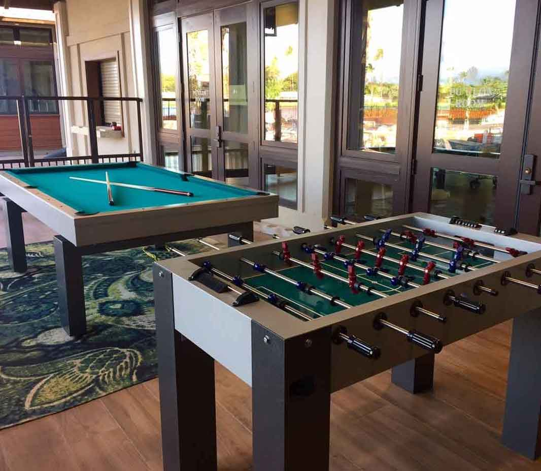 Outdoor pool and foosball game tables by R&R Outdoors All Weather Billiards