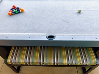 Pool Table with Custom Bench | R & R Outdoors - Outdoor Pool Tables