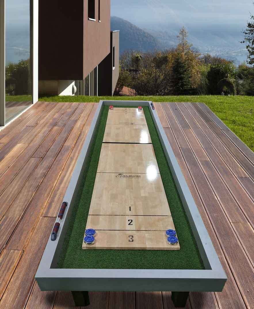 Rock Solid Shuffleboard by R&R Outdoors All Weather Billiards on deck of a modern home