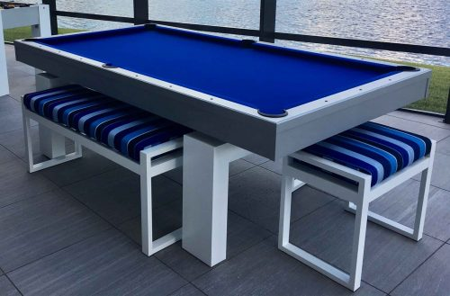 Outdoor pool table with large and small all weather seating bench