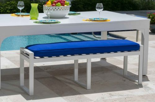 White, all weather, outdoor seating bench for custom pool and game tables by R&R Outdoors All Weather Billiards