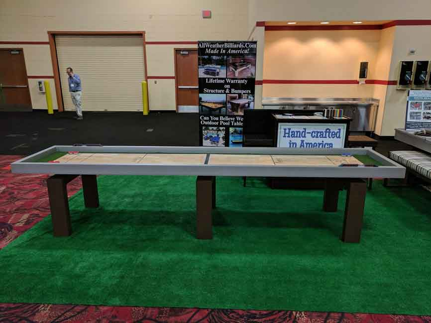 R&R Outdoors Rock Solid Shuffleboard table showcased at the Billiards Congress of America Show 2017