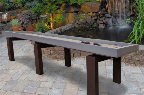 R&R Outdoors Rock Solid Shuffleboard table in client's backyard