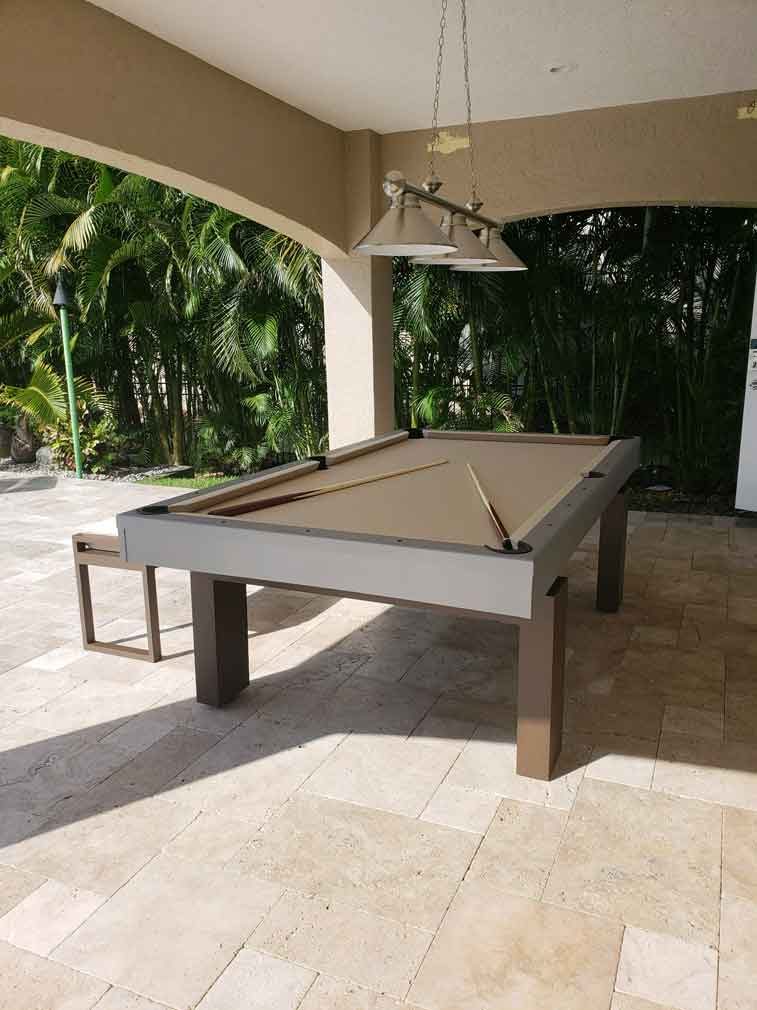 South Beach Outdoor Pool Table and Bench Seating Accessory
