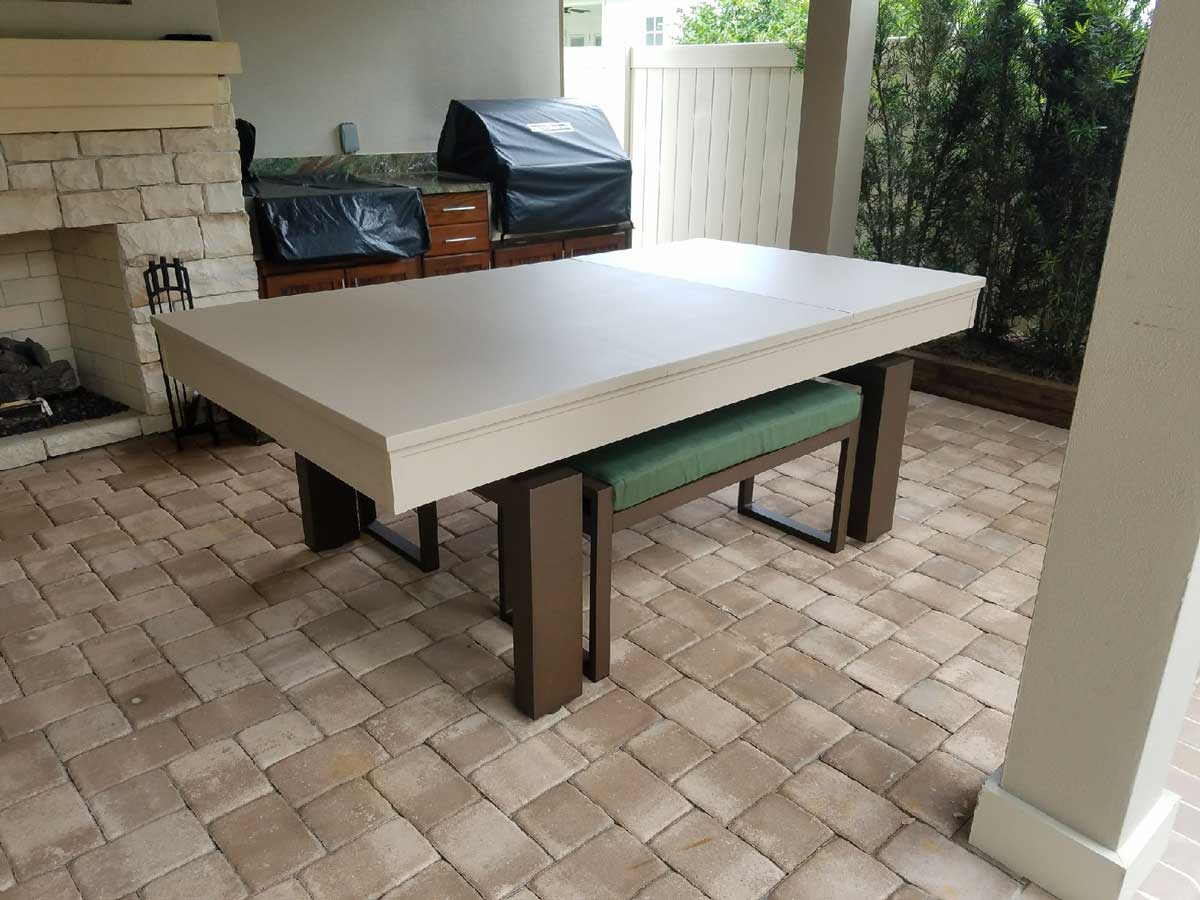 South Beach Custom Outdoor Pool Table with Dining Conversion Top and Bench Seating by R&R Outdoors, Inc.
