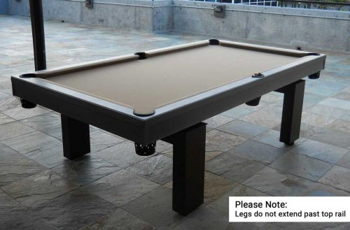 South Beach, custom outdoor pool table, is the focal point of client's outdoor living space in Florida