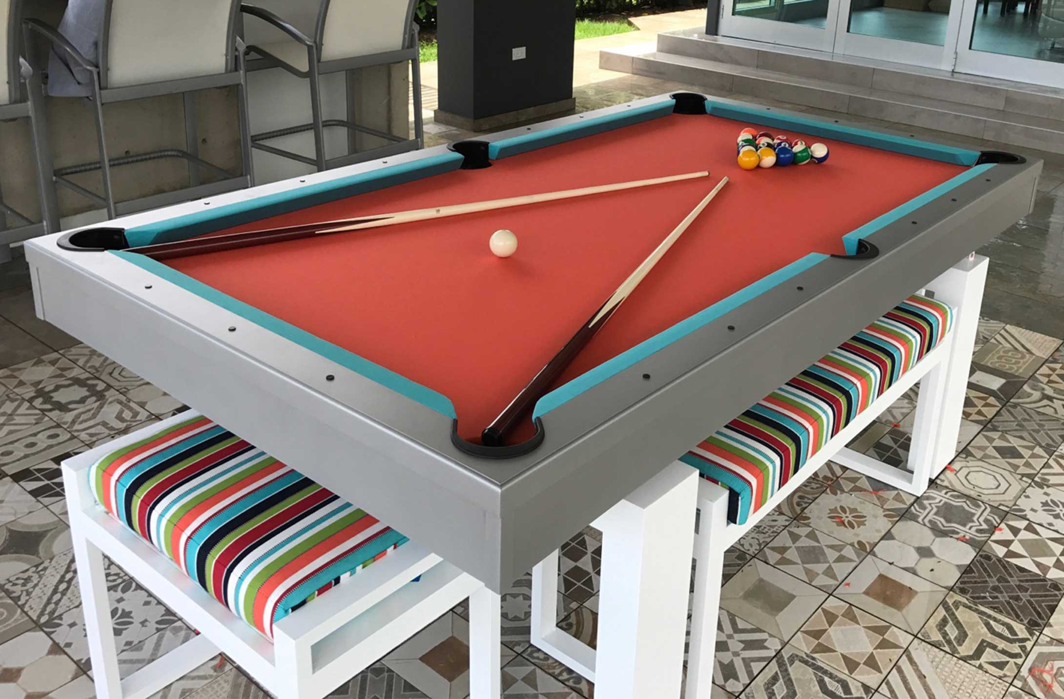 South Beach, custom outdoor pool table with matching all weather seating by R&R Outdoors