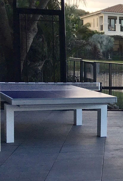 Table Tennis with South Beach table legs in Southwest Florida Home