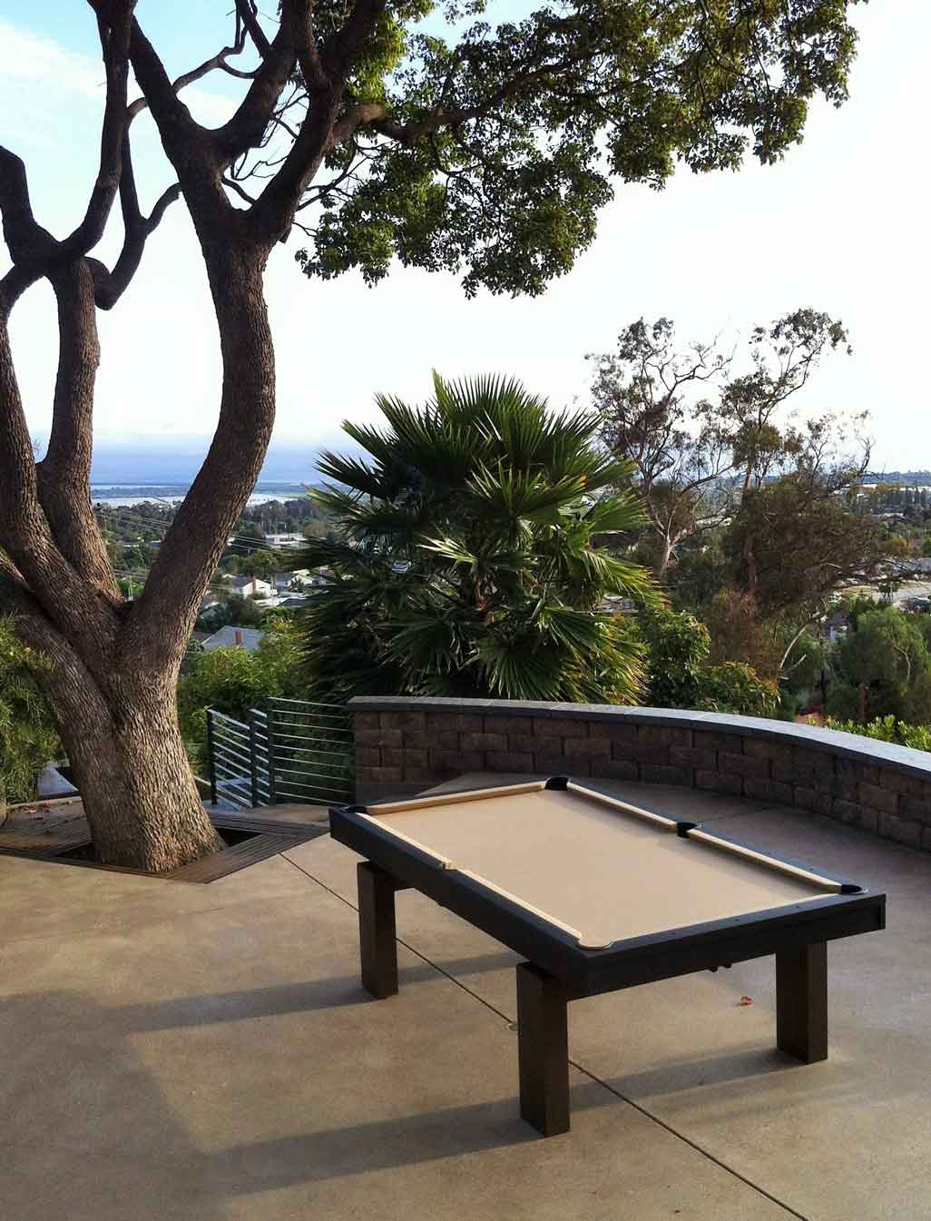 South Beach custom outdoor pool table overlooking city scape
