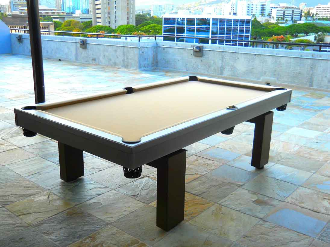South Beach custom outdoor pool table on roof top in Vancouver, CA