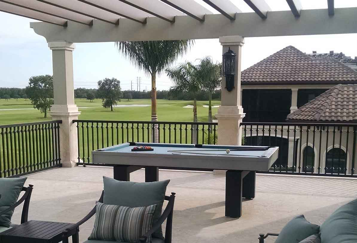 South Beach pool table over looking golf course in Naples, Florida