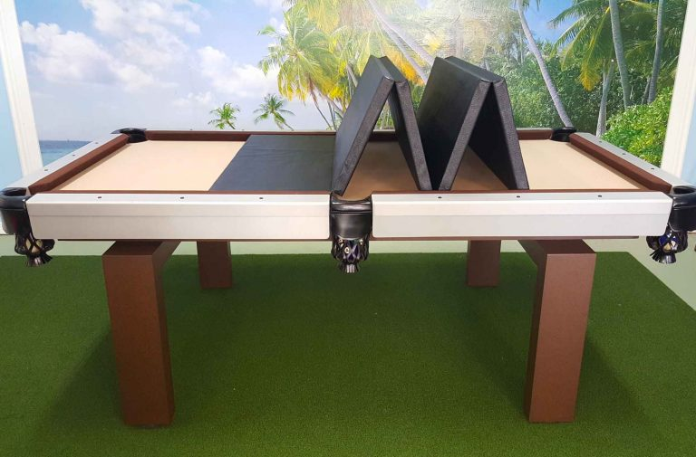 Outdoor pool table with foldable, pool table insert to convert your pool table into entertaining space