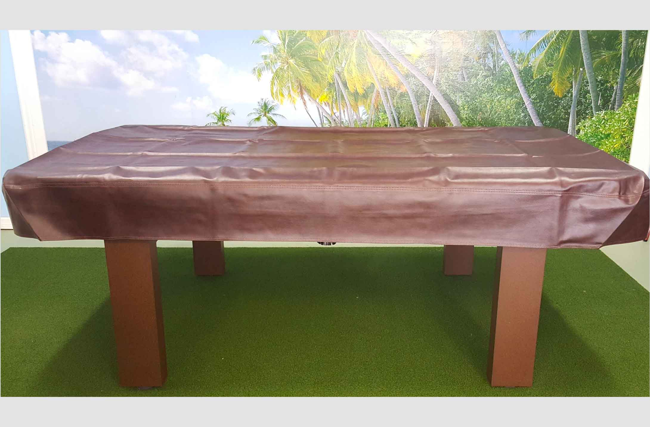 Outdoor pool table with brown, custom pool table cover from R&R Outdoors All Weather Billiards