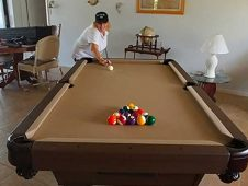 Pamela Thompson of Cape Coral Florida loves her custom all weather pool table