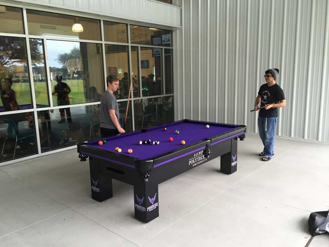 Florida Polytechnic University Custom Outdoor Pool Table from R&R Outdoors, Inc. All Weather Billiards