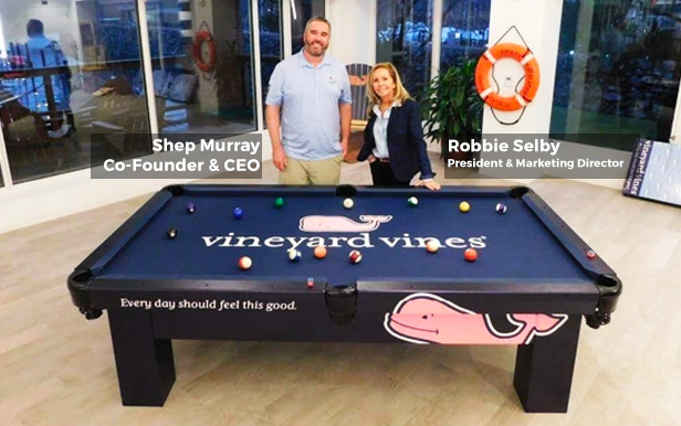 Shep Murray, Co-Founder & CEO of Vineyards Vines® with Robbie Selby, President & Director of Marketing at R&R Outdoors, Inc. All Weather Billiards Naples Florida